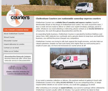 screenshot od Cheltenham Couriers website